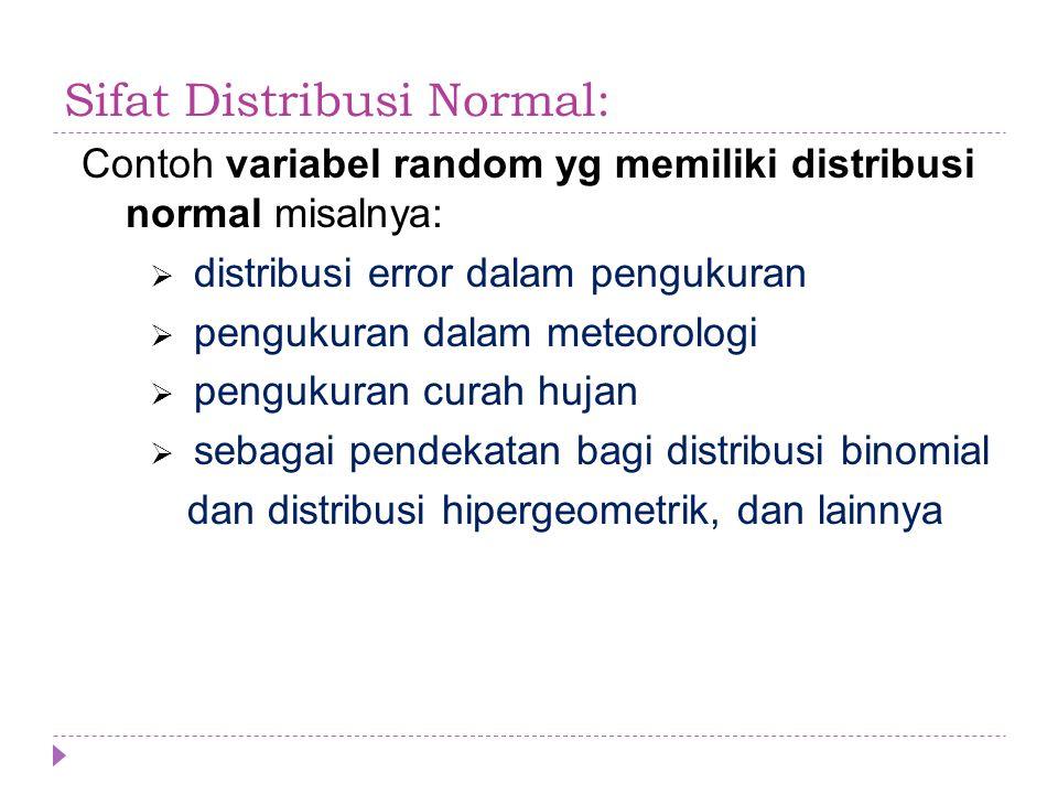 Sifat Distribusi Normal: Contoh variabel random yg memiliki distribusi normal misalnya:  distribusi error dalam pengukuran  pengukuran dalam meteoro