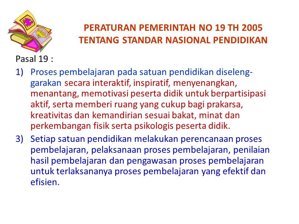 PERATURAN PEMERINTAH NO 19 TH 2005 TENTANG STANDAR NASIONAL PENDIDIKAN Pasal 19 : 1)Proses pembelajaran pada satuan pendidikan diseleng- garakan secar