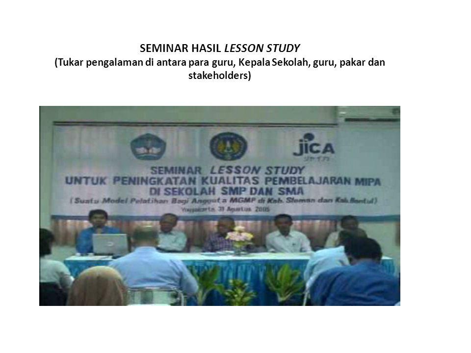 SEMINAR HASIL LESSON STUDY (Tukar pengalaman di antara para guru, Kepala Sekolah, guru, pakar dan stakeholders)