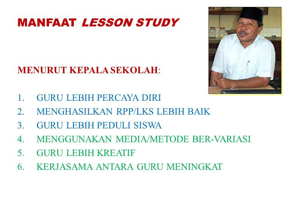 MANFAAT LESSON STUDY MENURUT KEPALA SEKOLAH: 1.GURU LEBIH PERCAYA DIRI 2.MENGHASILKAN RPP/LKS LEBIH BAIK 3.GURU LEBIH PEDULI SISWA 4.MENGGUNAKAN MEDIA