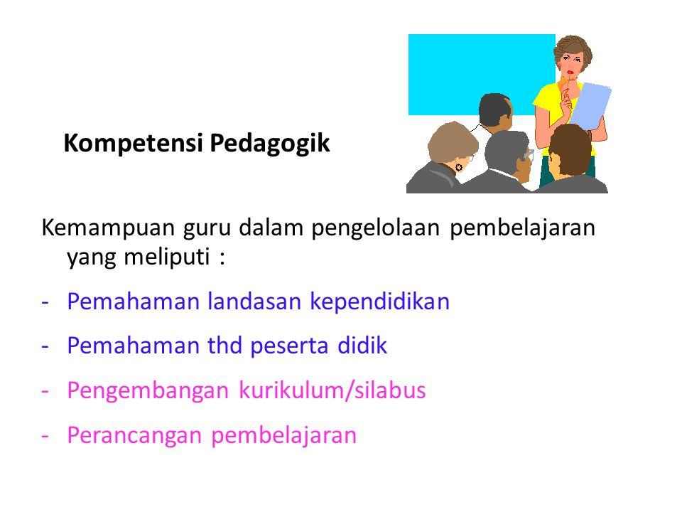Kompetensi Pedagogik Kemampuan guru dalam pengelolaan pembelajaran yang meliputi : -Pemahaman landasan kependidikan -Pemahaman thd peserta didik -Peng