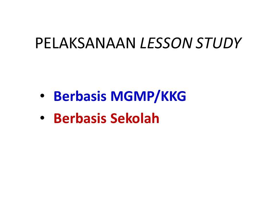 PELAKSANAAN LESSON STUDY • Berbasis MGMP/KKG • Berbasis Sekolah