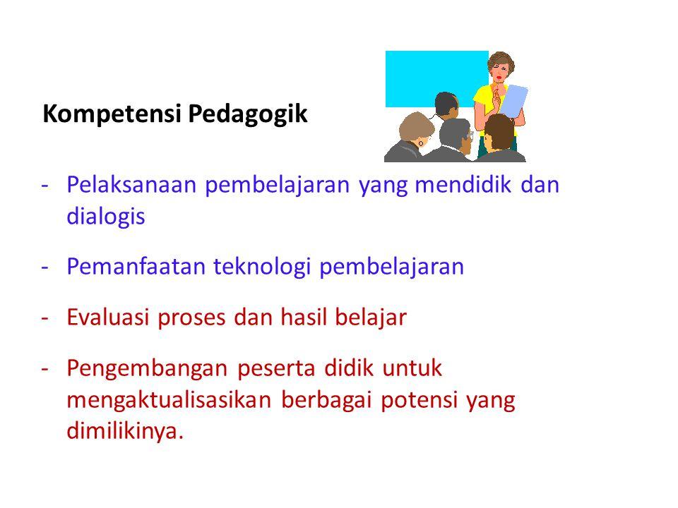 Kompetensi Pedagogik -Pelaksanaan pembelajaran yang mendidik dan dialogis -Pemanfaatan teknologi pembelajaran -Evaluasi proses dan hasil belajar -Peng