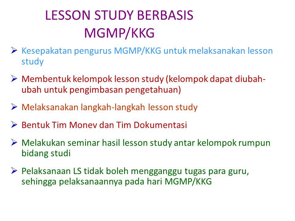 LESSON STUDY BERBASIS MGMP/KKG  Kesepakatan pengurus MGMP/KKG untuk melaksanakan lesson study  Membentuk kelompok lesson study (kelompok dapat diuba
