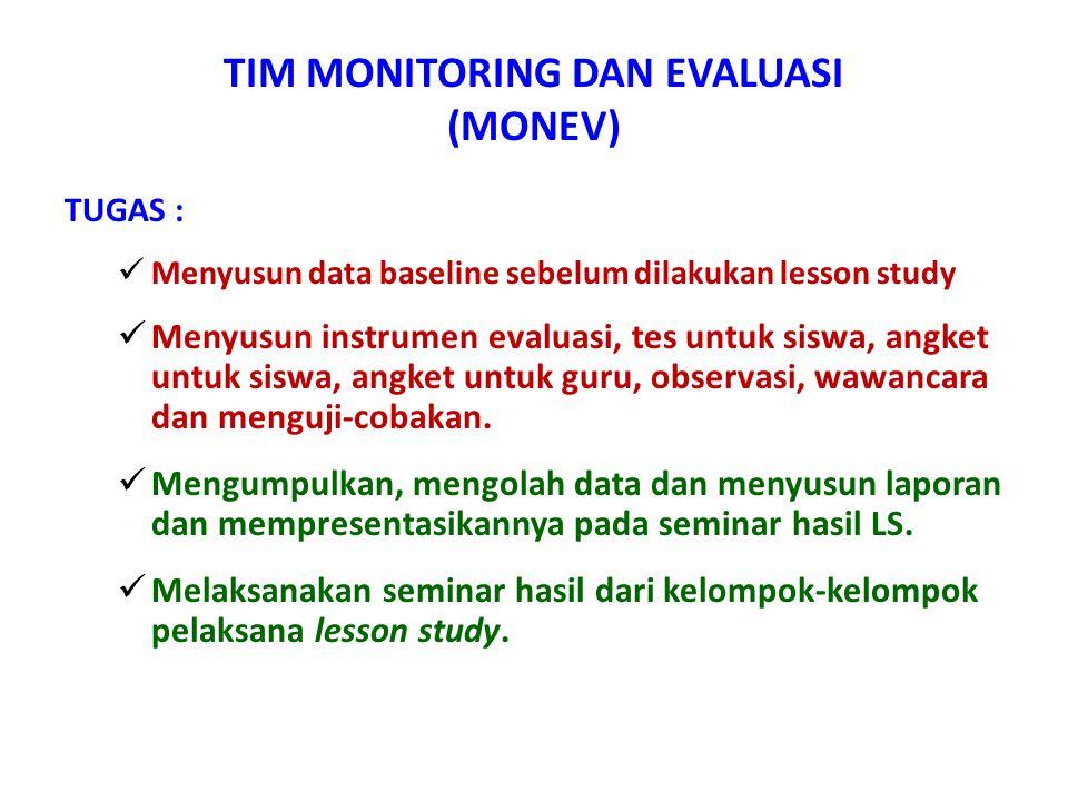 TIM MONITORING DAN EVALUASI (MONEV) TUGAS :  Menyusun data baseline sebelum dilakukan lesson study  Menyusun instrumen evaluasi, tes untuk siswa, an