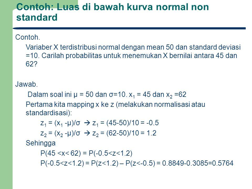 Contoh: Luas di bawah kurva normal non standard Contoh. Variaber X terdistribusi normal dengan mean 50 dan standard deviasi =10. Carilah probabilitas