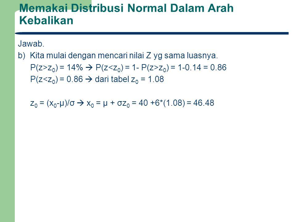 Memakai Distribusi Normal Dalam Arah Kebalikan Jawab. b) Kita mulai dengan mencari nilai Z yg sama luasnya. P(z>z 0 ) = 14%  P(z z 0 ) = 1-0.14 = 0.8