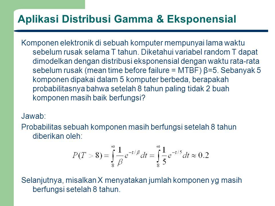 Aplikasi Distribusi Gamma & Eksponensial Komponen elektronik di sebuah komputer mempunyai lama waktu sebelum rusak selama T tahun. Diketahui variabel