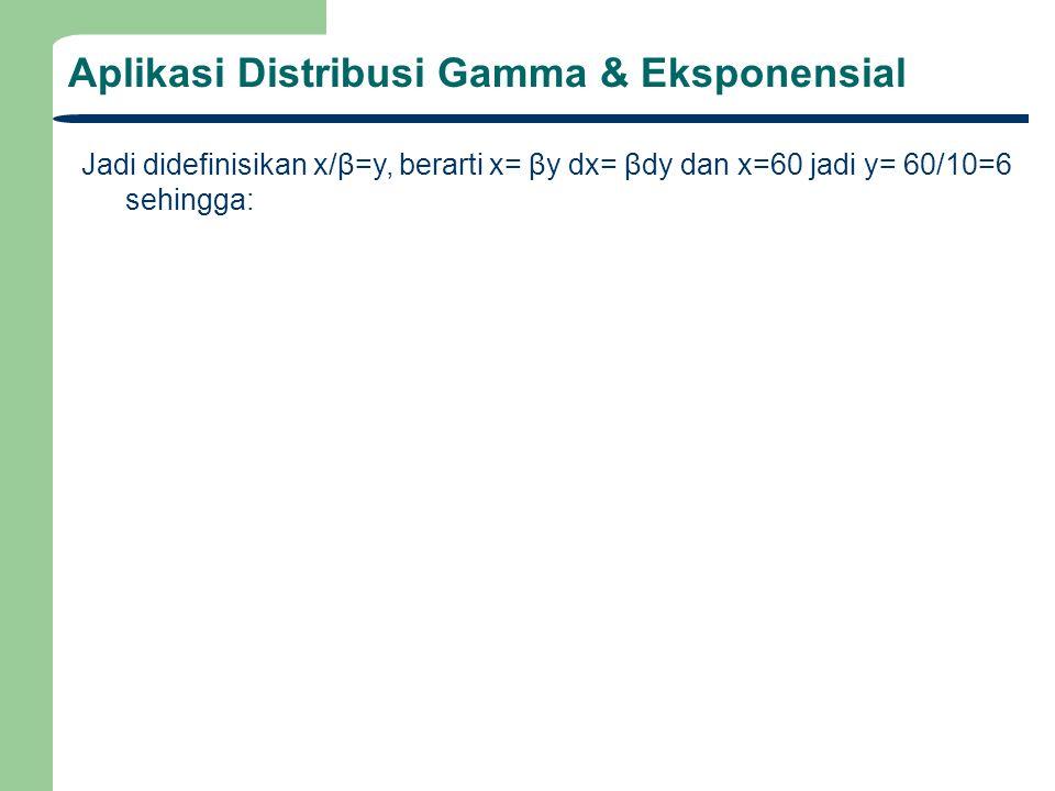 Aplikasi Distribusi Gamma & Eksponensial Jadi didefinisikan x/β=y, berarti x= βy dx= βdy dan x=60 jadi y= 60/10=6 sehingga:
