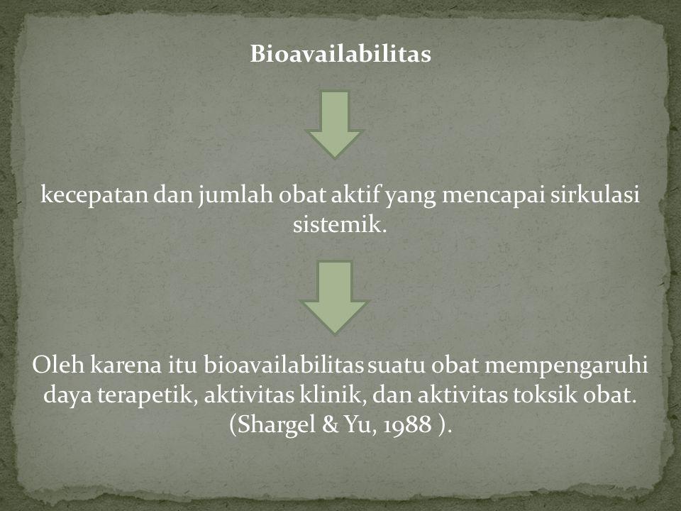Bioavailabilitas kecepatan dan jumlah obat aktif yang mencapai sirkulasi sistemik.