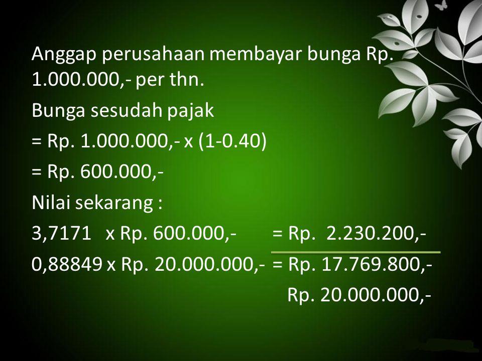 Anggap perusahaan membayar bunga Rp. 1.000.000,- per thn. Bunga sesudah pajak = Rp. 1.000.000,- x (1-0.40) = Rp. 600.000,- Nilai sekarang : 3,7171 x R
