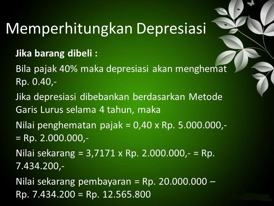 Memperhitungkan Depresiasi Jika barang dibeli : Bila pajak 40% maka depresiasi akan menghemat Rp. 0.40,- Jika depresiasi dibebankan berdasarkan Metode