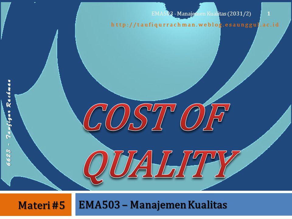 6 6 2 3 - T a u f i q u r R a c h m a n http://taufiqurrachman.weblog.esaunggul.ac.id EMA503 – Manajemen Kualitas Materi #5 1 EMA503 - Manajemen Kualitas (2031/2)