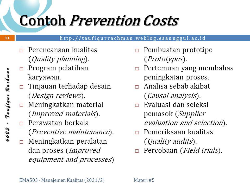 http://taufiqurrachman.weblog.esaunggul.ac.id 6 6 2 3 - T a u f i q u r R a c h m a n Contoh Prevention Costs  Perencanaan kualitas (Quality planning).