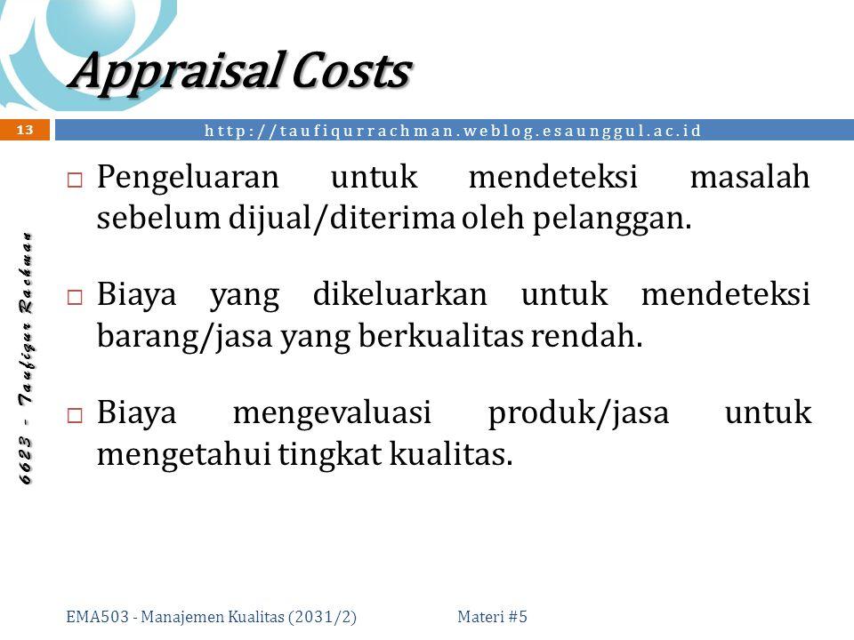 http://taufiqurrachman.weblog.esaunggul.ac.id 6 6 2 3 - T a u f i q u r R a c h m a n Appraisal Costs Materi #5 EMA503 - Manajemen Kualitas (2031/2) 13  Pengeluaran untuk mendeteksi masalah sebelum dijual/diterima oleh pelanggan.