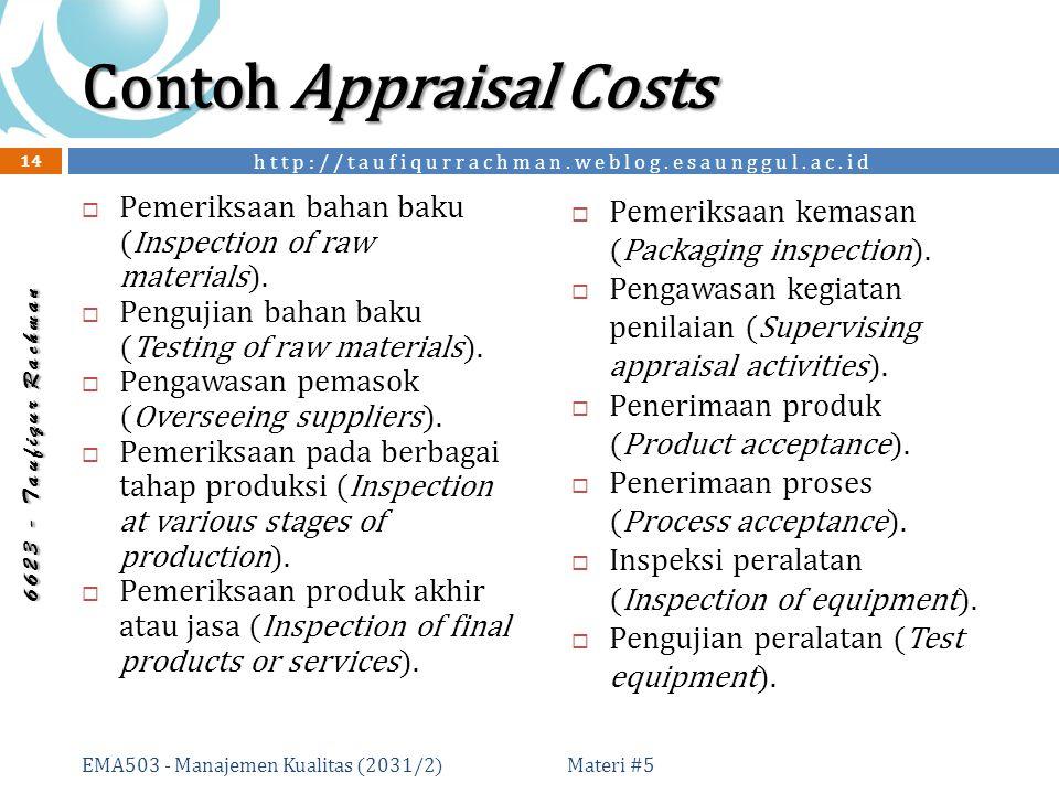 http://taufiqurrachman.weblog.esaunggul.ac.id 6 6 2 3 - T a u f i q u r R a c h m a n Contoh Appraisal Costs  Pemeriksaan bahan baku (Inspection of raw materials).
