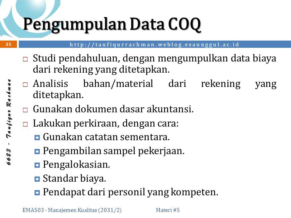 http://taufiqurrachman.weblog.esaunggul.ac.id 6 6 2 3 - T a u f i q u r R a c h m a n Pengumpulan Data COQ Materi #5 EMA503 - Manajemen Kualitas (2031/2) 21  Studi pendahuluan, dengan mengumpulkan data biaya dari rekening yang ditetapkan.