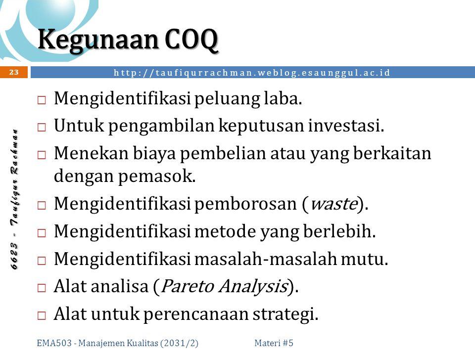 http://taufiqurrachman.weblog.esaunggul.ac.id 6 6 2 3 - T a u f i q u r R a c h m a n Kegunaan COQ Materi #5 EMA503 - Manajemen Kualitas (2031/2) 23  Mengidentifikasi peluang laba.