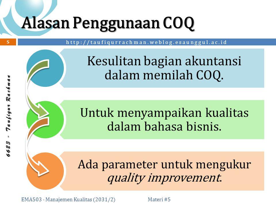 http://taufiqurrachman.weblog.esaunggul.ac.id 6 6 2 3 - T a u f i q u r R a c h m a n Alasan Penggunaan COQ Materi #5 EMA503 - Manajemen Kualitas (2031/2) 5 Kesulitan bagian akuntansi dalam memilah COQ.