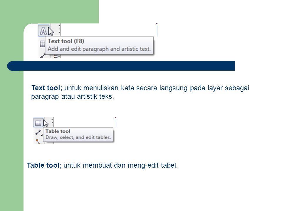 Text tool; untuk menuliskan kata secara langsung pada layar sebagai paragrap atau artistik teks. Table tool; untuk membuat dan meng-edit tabel.