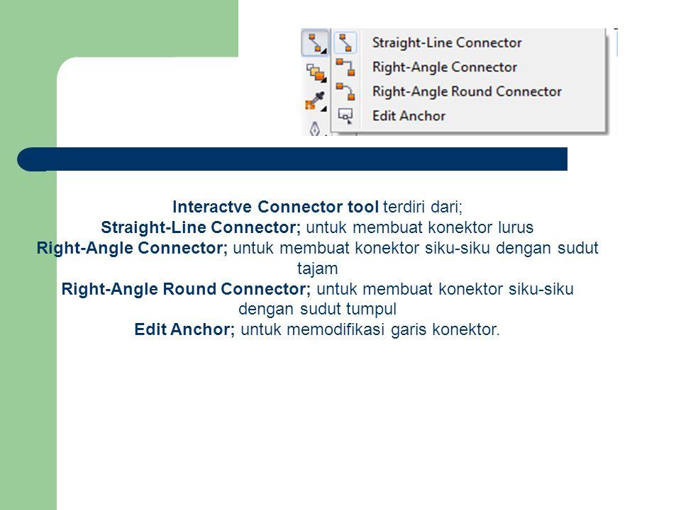 Interactve Connector tool terdiri dari; Straight-Line Connector; untuk membuat konektor lurus Right-Angle Connector; untuk membuat konektor siku-siku