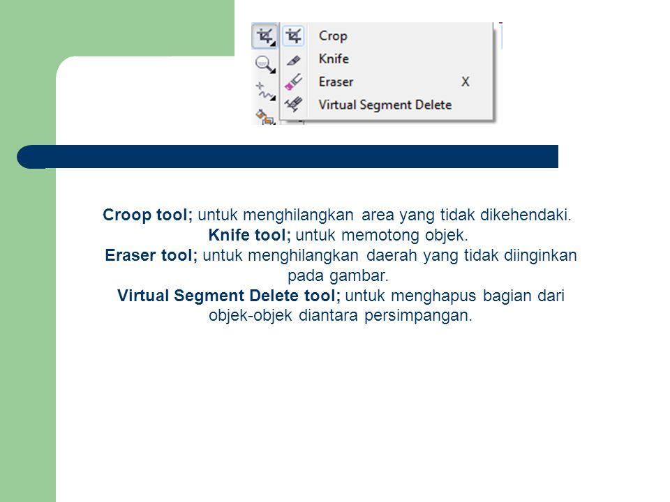Croop tool; untuk menghilangkan area yang tidak dikehendaki. Knife tool; untuk memotong objek. Eraser tool; untuk menghilangkan daerah yang tidak diin