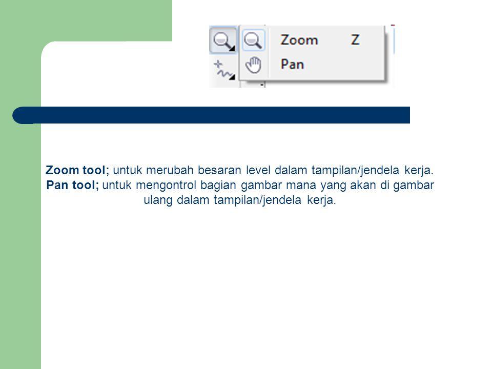 Zoom tool; untuk merubah besaran level dalam tampilan/jendela kerja. Pan tool; untuk mengontrol bagian gambar mana yang akan di gambar ulang dalam tam
