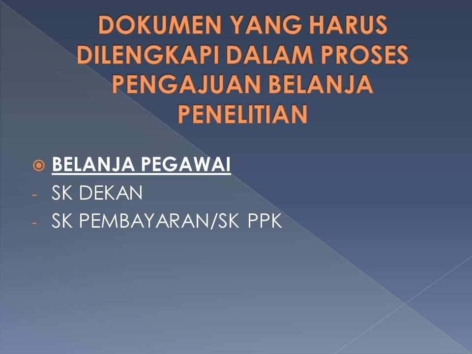  BELANJA PEGAWAI - SK DEKAN - SK PEMBAYARAN/SK PPK