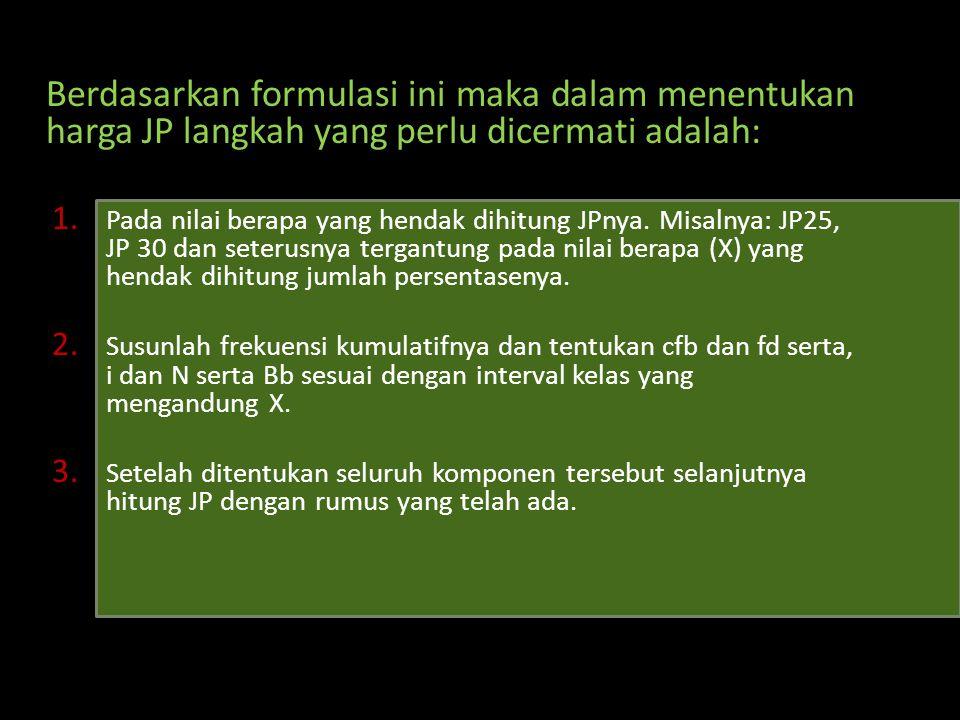 Berdasarkan formulasi ini maka dalam menentukan harga JP langkah yang perlu dicermati adalah: 1. Pada nilai berapa yang hendak dihitung JPnya. Misalny