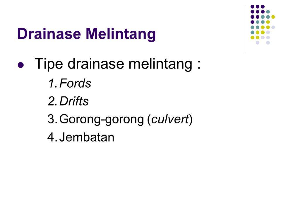 Drainase Melintang  Tipe drainase melintang : 1.Fords 2.Drifts 3.Gorong-gorong (culvert) 4.Jembatan