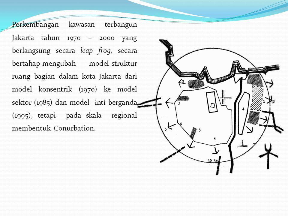 Perkembangan kawasan terbangun Jakarta tahun 1970 – 2000 yang berlangsung secara leap frog, secara bertahap mengubah model struktur ruang bagian dalam