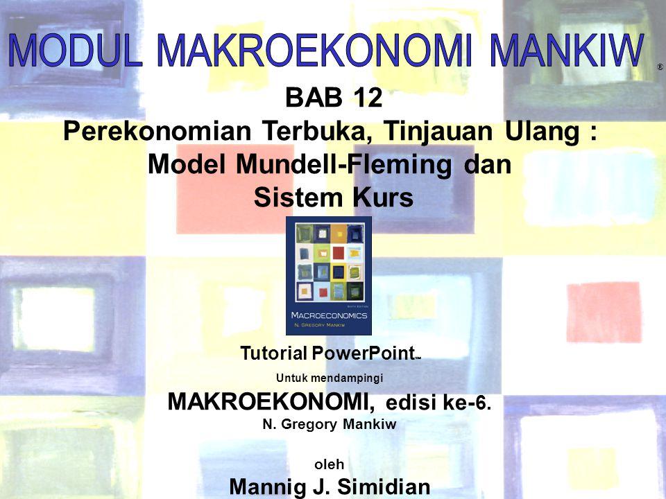 Chapter Twelve 1 ® BAB 12 Perekonomian Terbuka, Tinjauan Ulang : Model Mundell-Fleming dan Sistem Kurs Tutorial PowerPoint  Untuk mendampingi MAKROEK