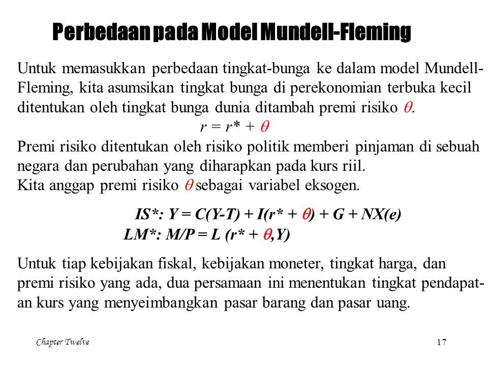 Chapter Twelve 17 Perbedaan pada Model Mundell-Fleming Untuk memasukkan perbedaan tingkat-bunga ke dalam model Mundell- Fleming, kita asumsikan tingka