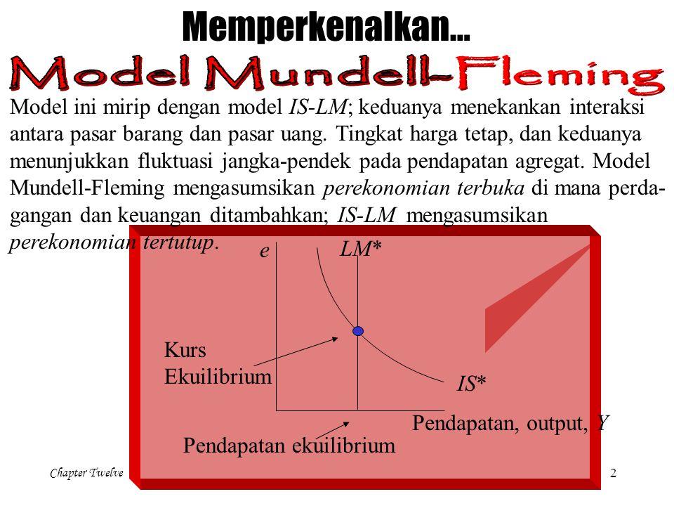 Chapter Twelve 2 Memperkenalkan… e Pendapatan, output, Y LM* IS* Kurs Ekuilibrium Pendapatan ekuilibrium Model ini mirip dengan model IS-LM; keduanya