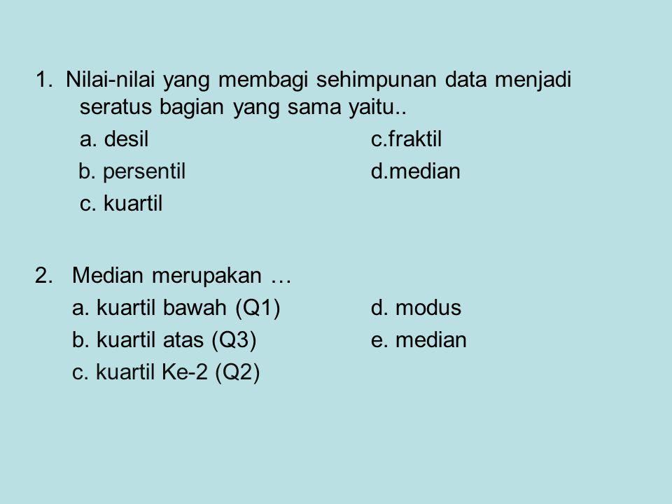 1. Nilai-nilai yang membagi sehimpunan data menjadi seratus bagian yang sama yaitu.. a. desil c.fraktil b. persentild.median c. kuartil 2. Median meru