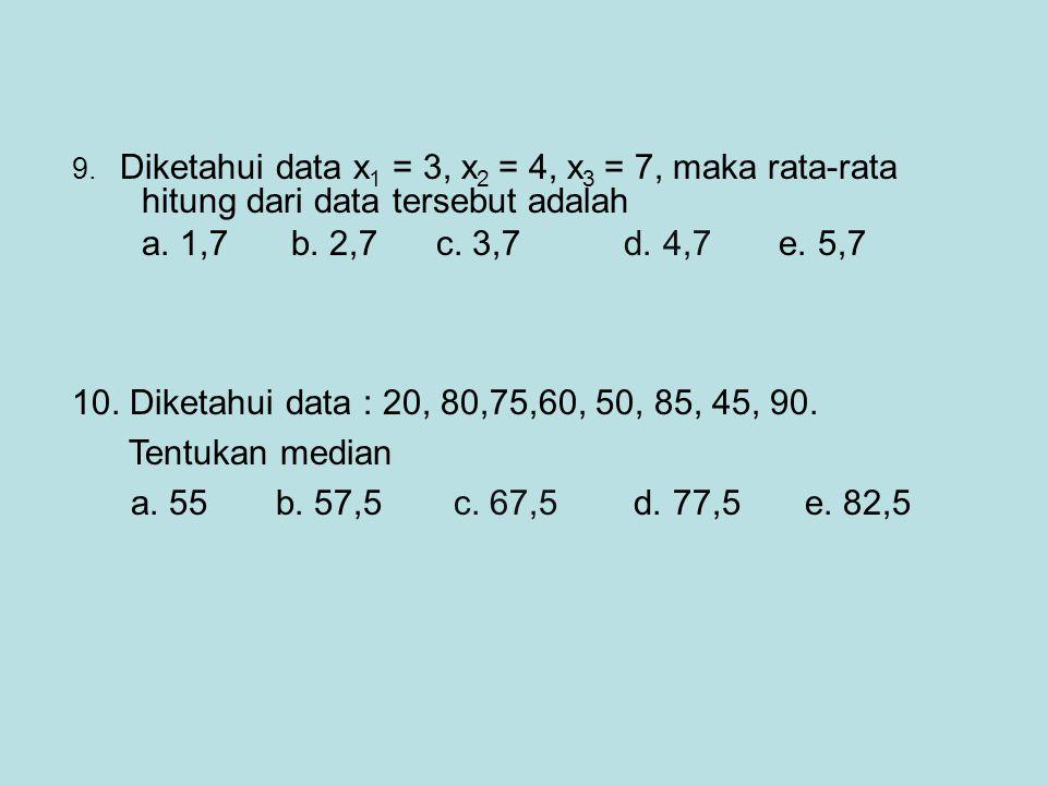 9. Diketahui data x 1 = 3, x 2 = 4, x 3 = 7, maka rata-rata hitung dari data tersebut adalah a. 1,7 b. 2,7 c. 3,7 d. 4,7 e. 5,7 10. Diketahui data : 2