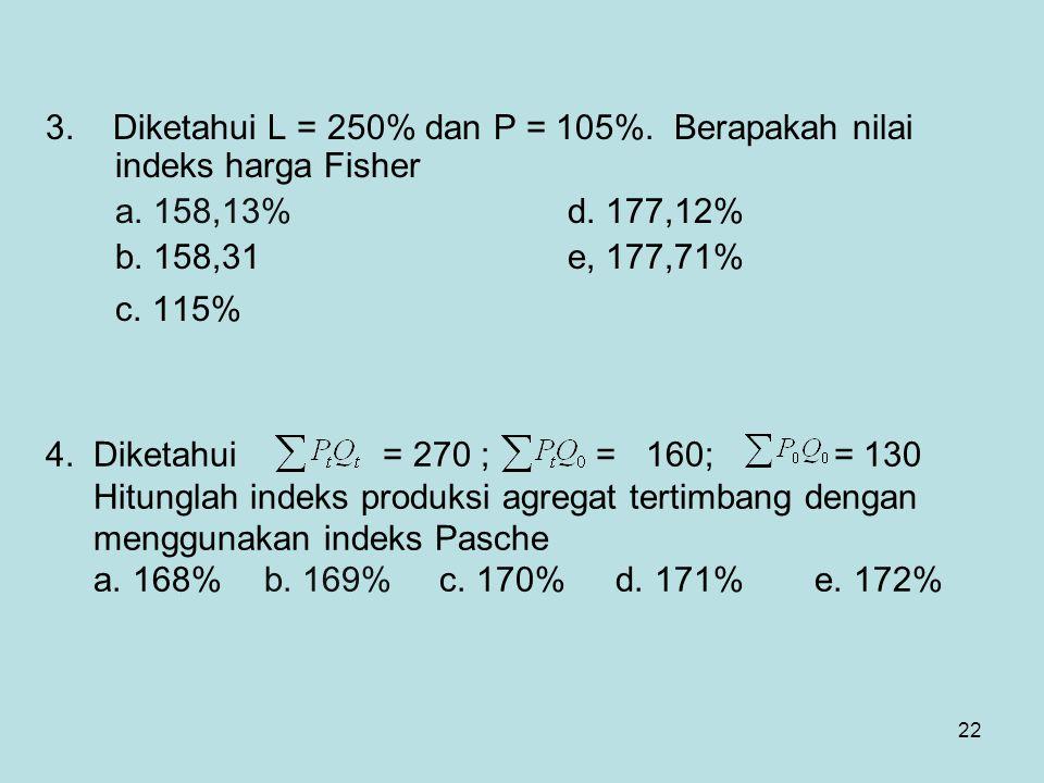 22 3. Diketahui L = 250% dan P = 105%. Berapakah nilai indeks harga Fisher a. 158,13% d. 177,12% b. 158,31e, 177,71% c. 115% 4. Diketahui = 270 ; = 16