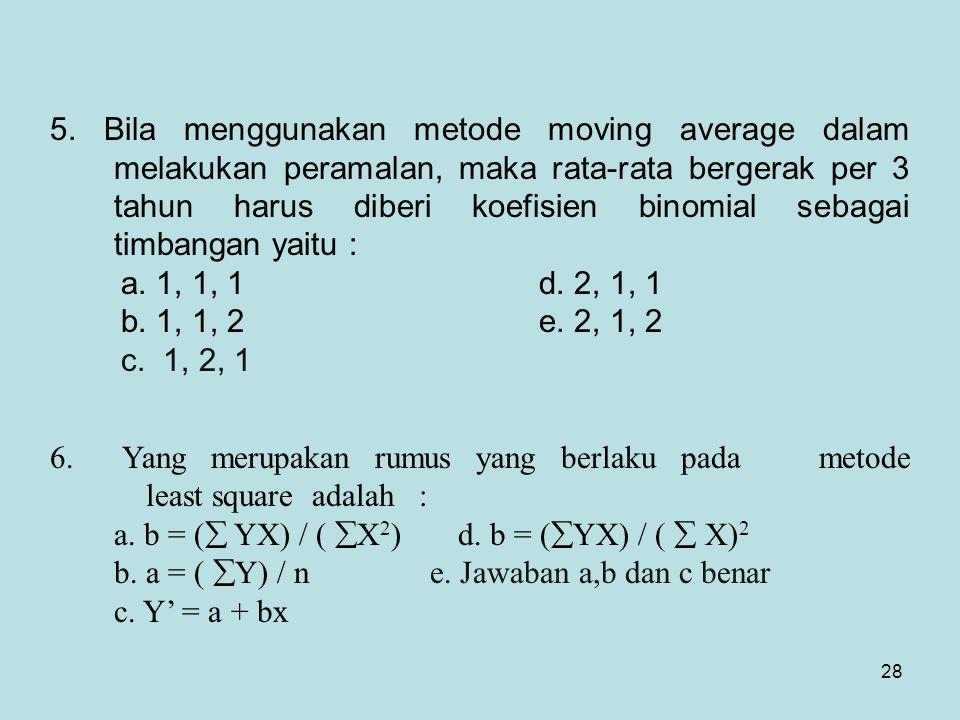 28 5. Bila menggunakan metode moving average dalam melakukan peramalan, maka rata-rata bergerak per 3 tahun harus diberi koefisien binomial sebagai ti