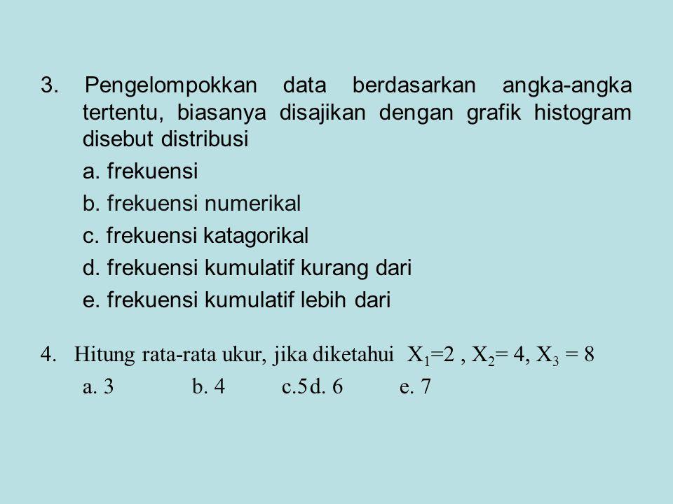 4. Hitung rata-rata ukur, jika diketahui X 1 =2, X 2 = 4, X 3 = 8 a. 3 b. 4 c.5d. 6 e. 7 3. Pengelompokkan data berdasarkan angka-angka tertentu, bias