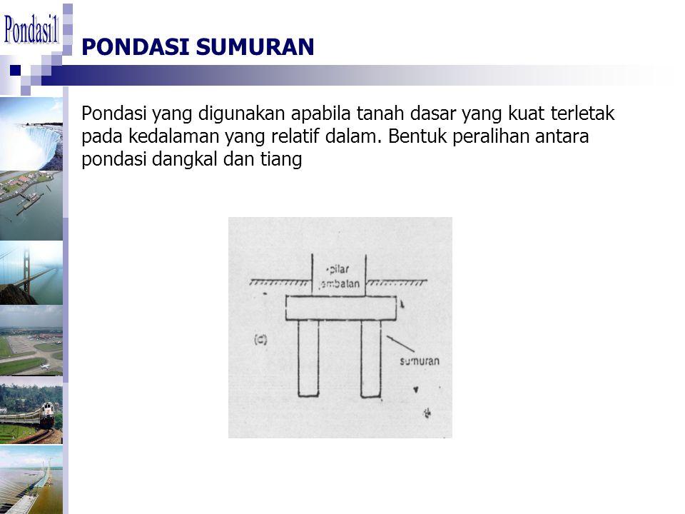 PONDASI SUMURAN Pondasi yang digunakan apabila tanah dasar yang kuat terletak pada kedalaman yang relatif dalam. Bentuk peralihan antara pondasi dangk
