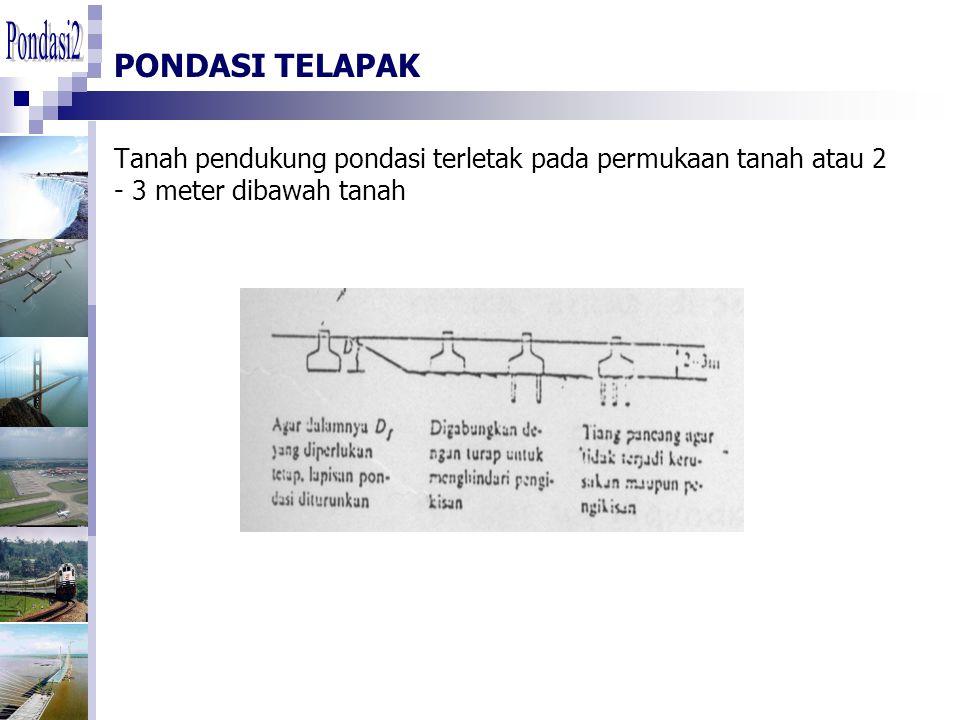 PONDASI TELAPAK Tanah pendukung pondasi terletak pada permukaan tanah atau 2 - 3 meter dibawah tanah