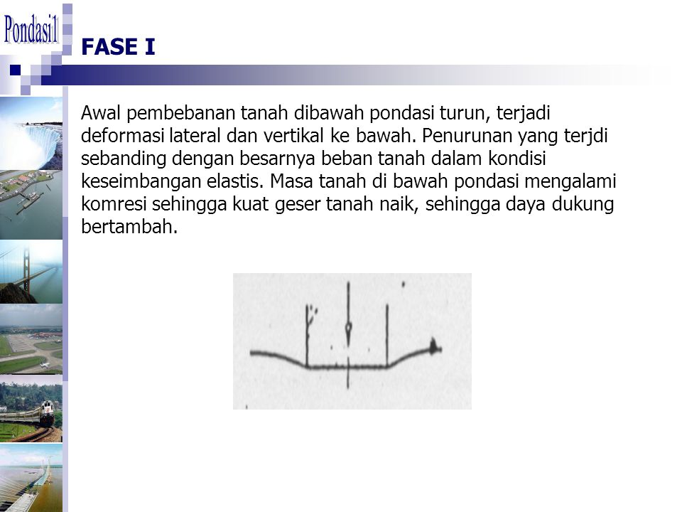 FASE I Awal pembebanan tanah dibawah pondasi turun, terjadi deformasi lateral dan vertikal ke bawah. Penurunan yang terjdi sebanding dengan besarnya b