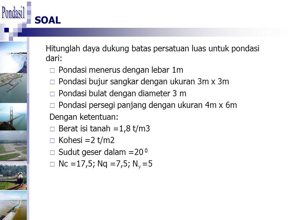 SOAL Hitunglah daya dukung batas persatuan luas untuk pondasi dari:  Pondasi menerus dengan lebar 1m  Pondasi bujur sangkar dengan ukuran 3m x 3m  Pondasi bulat dengan diameter 3 m  Pondasi persegi panjang dengan ukuran 4m x 6m Dengan ketentuan:  Berat isi tanah =1,8 t/m3  Kohesi =2 t/m2  Sudut geser dalam =20 0  Nc =17,5; Nq =7,5; N  =5