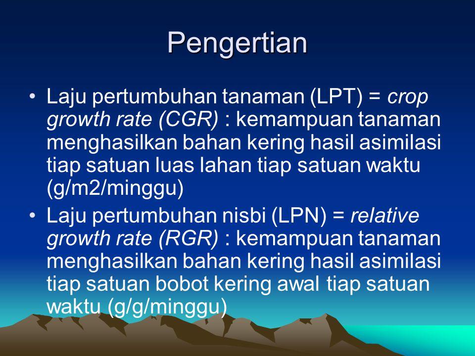 Pengertian •Laju pertumbuhan tanaman (LPT) = crop growth rate (CGR) : kemampuan tanaman menghasilkan bahan kering hasil asimilasi tiap satuan luas lah
