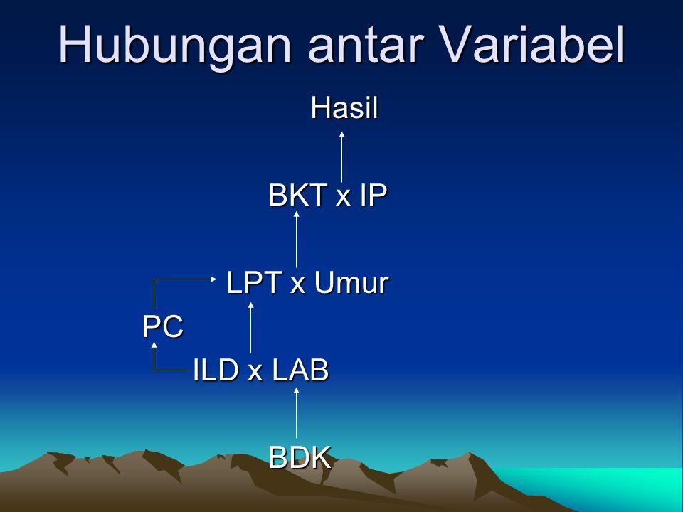 Hubungan antar Variabel Hasil Hasil BKT x IP BKT x IP LPT x Umur LPT x Umur PC PC ILD x LAB ILD x LAB BDK BDK