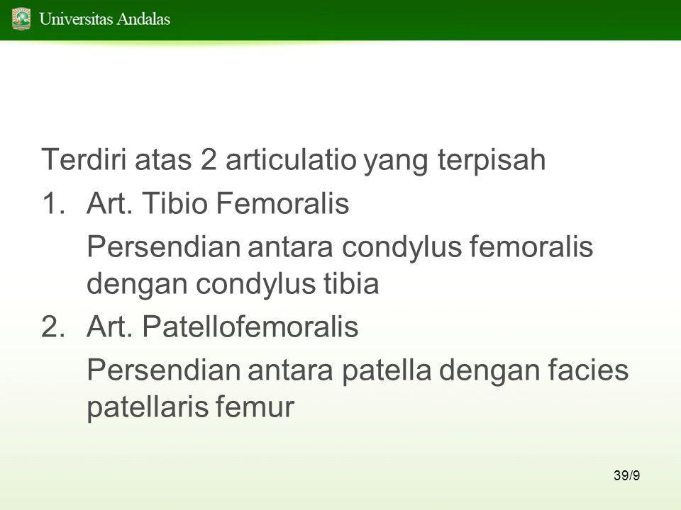 39/9 Terdiri atas 2 articulatio yang terpisah 1.Art. Tibio Femoralis Persendian antara condylus femoralis dengan condylus tibia 2.Art. Patellofemorali
