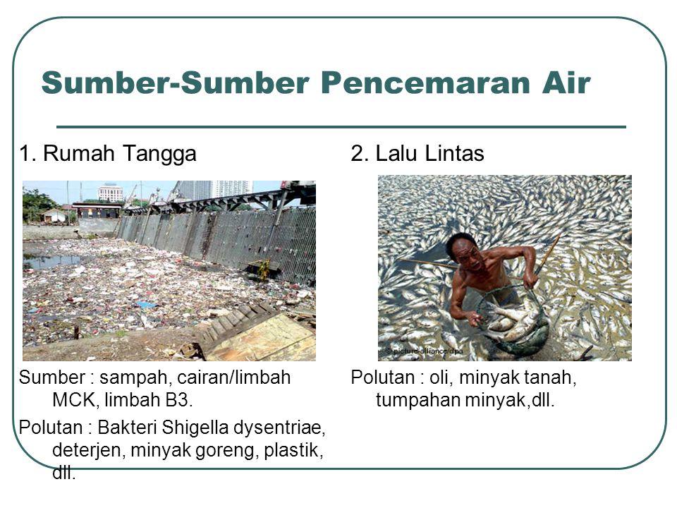 Sumber-Sumber Pencemaran Air 1. Rumah Tangga Sumber : sampah, cairan/limbah MCK, limbah B3. Polutan : Bakteri Shigella dysentriae, deterjen, minyak go