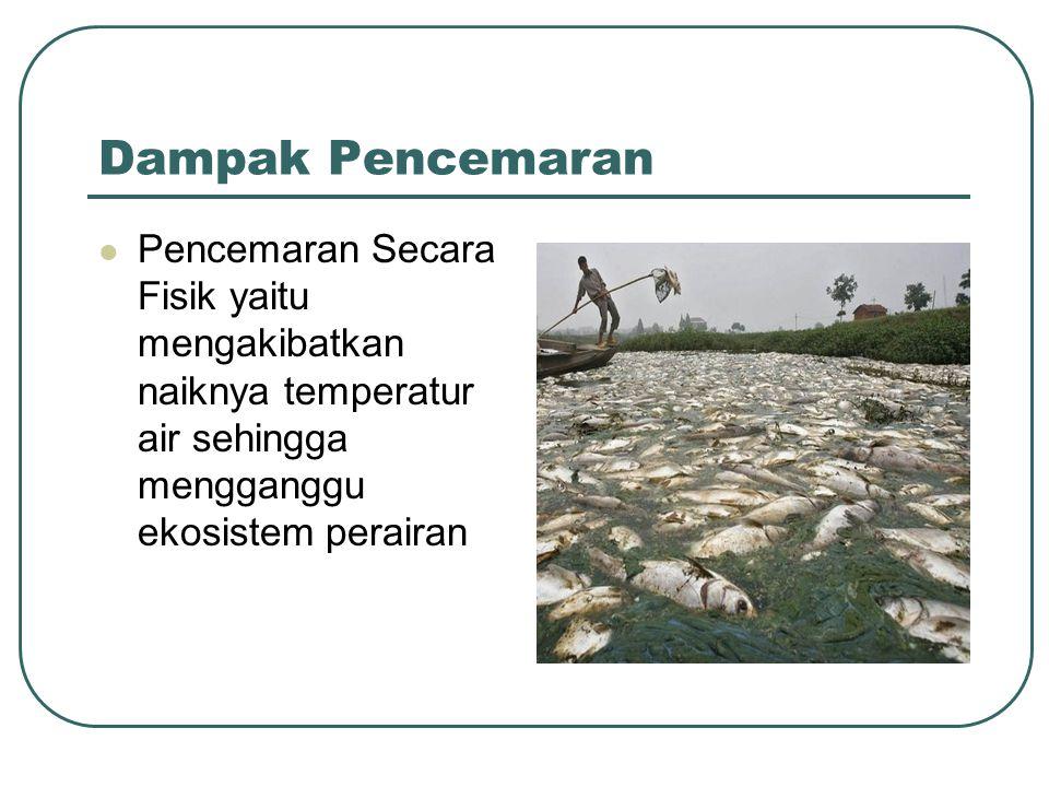 Dampak Pencemaran  Pencemaran Secara Fisik yaitu mengakibatkan naiknya temperatur air sehingga mengganggu ekosistem perairan