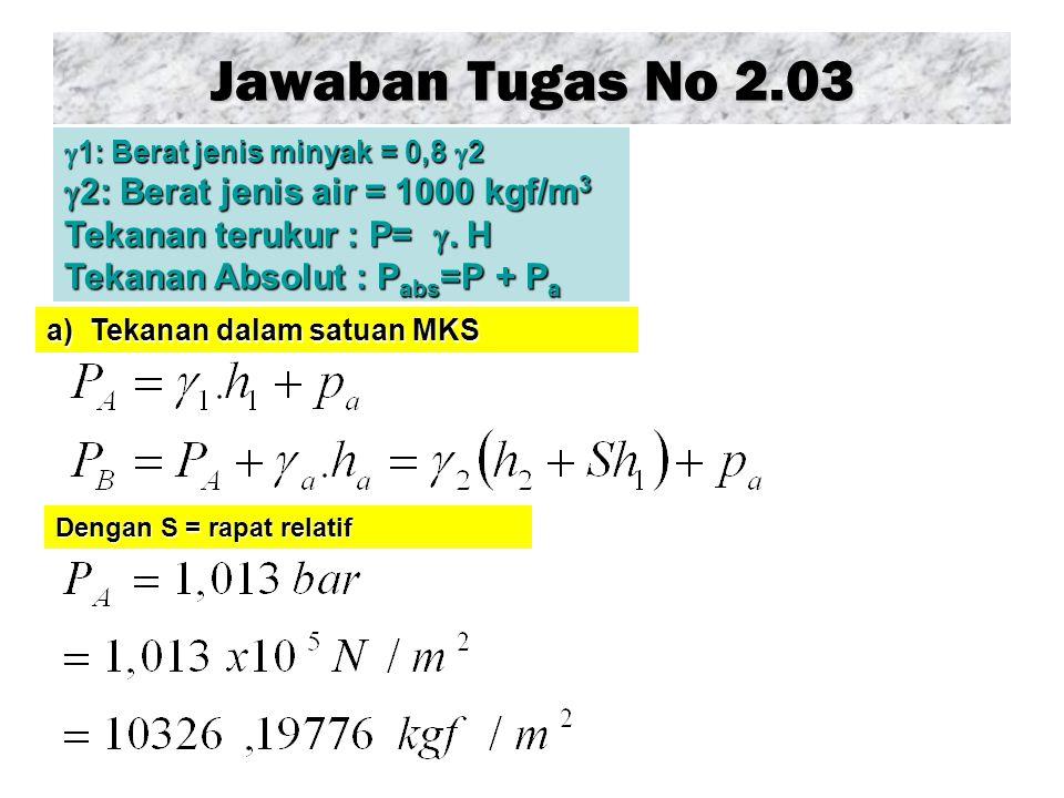 Jawaban Tugas No 2.03 Dengan S = rapat relatif  1: Berat jenis minyak = 0,8  2  2: Berat jenis air = 1000 kgf/m 3 Tekanan terukur : P= . H Tekanan