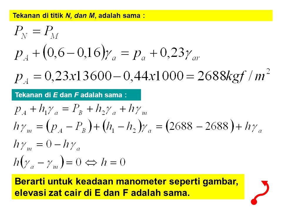 Tekanan di titik N, dan M, adalah sama : Tekanan di E dan F adalah sama : Berarti untuk keadaan manometer seperti gambar, elevasi zat cair di E dan F adalah sama.